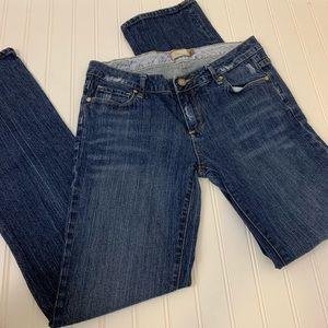 J Crew stretchy dark wash straight leg jeans 26S
